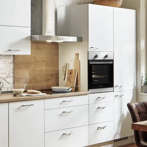nobilia device conversion tall cabinet for oven microwave 60cm 1 door 3 pull outs with soft close alpine white