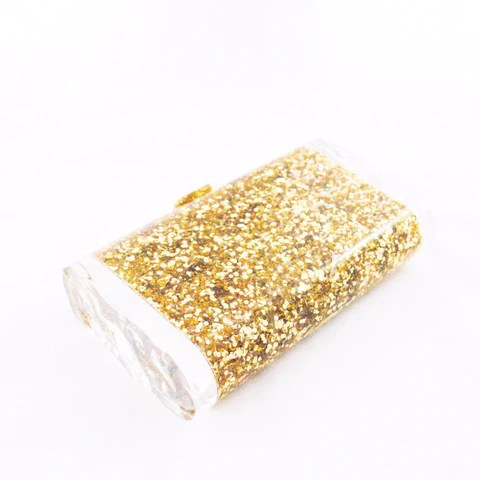 Lara Solid Gold Confetti Clutch, Edie Parker, Happily Ever Borrowed