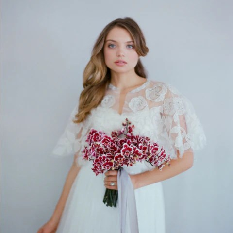 Silk & Beaded Circle Rose Cape Twigs and Honey Happily Ever Borrowed