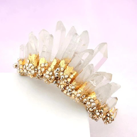 rock crystal headpiece haute bride happily ever borrowed
