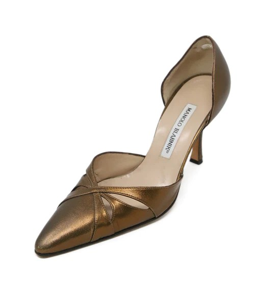 Heels Manolo Blahnik Shoe Size Us 7 Bronze Leather Shoes Michael S Con Michael S Consignment Nyc