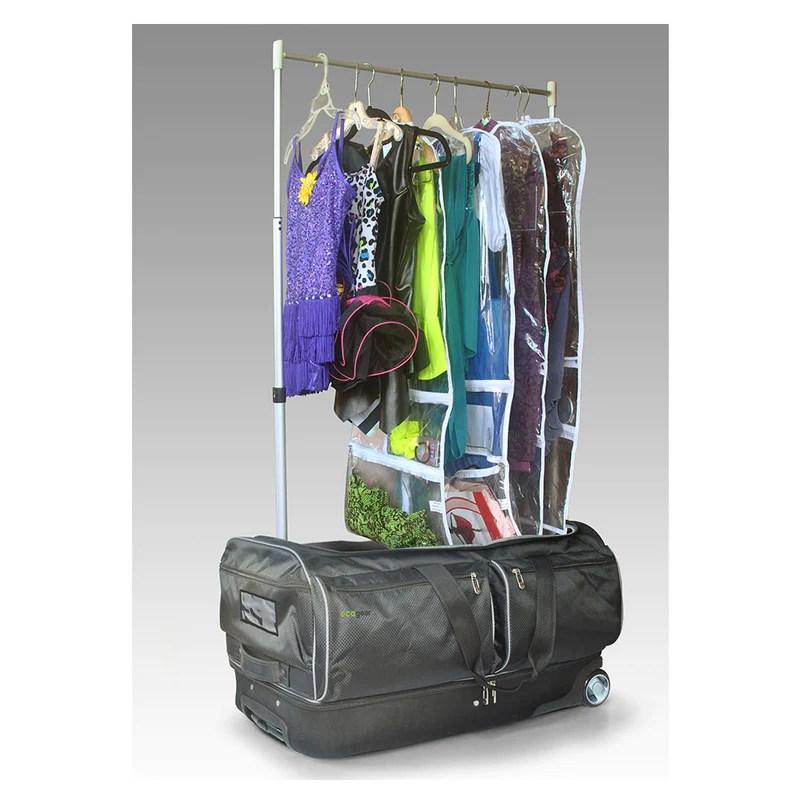 ecogear 28 wheeled duffel with garment rack converts into a mini closet