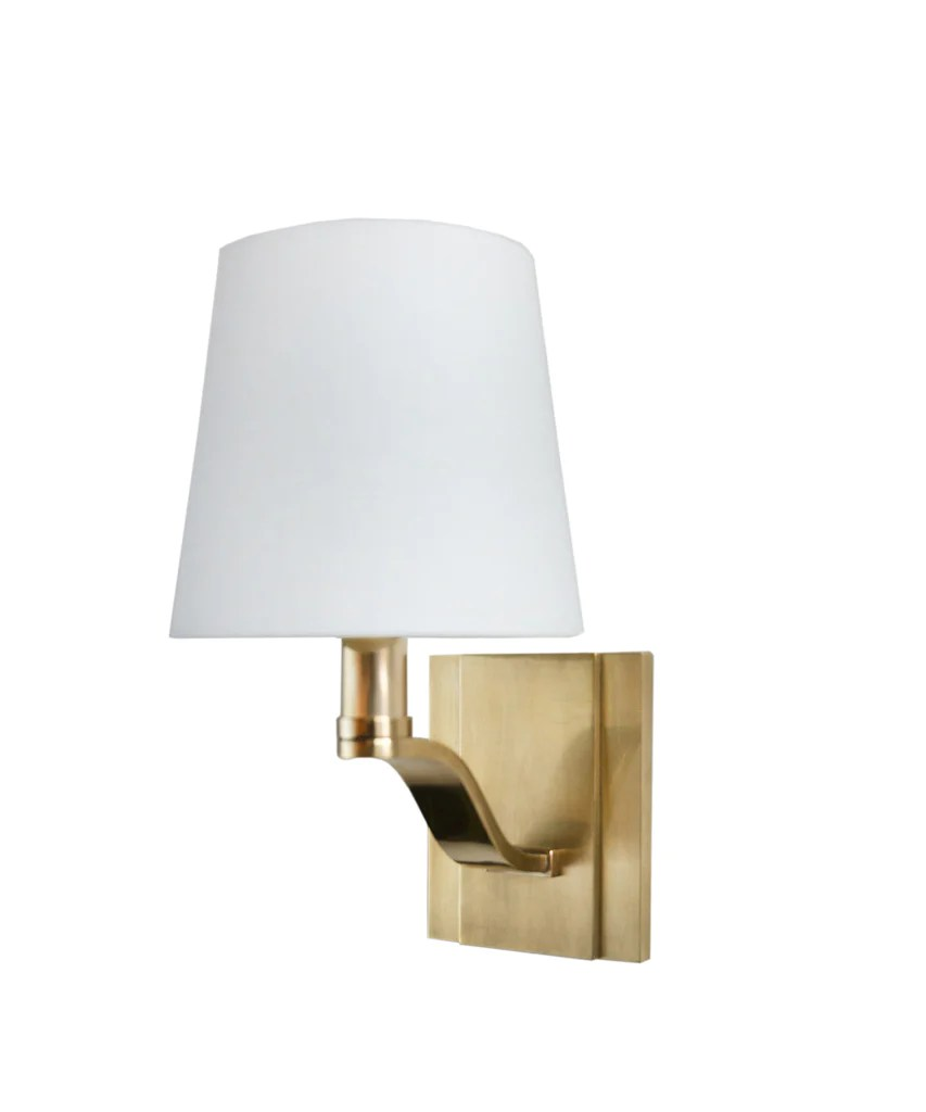 Clayton Single Light Wall Sconce, Aged Brass - High Street ... on Brass Wall Sconces Non Electric Lighting id=36630