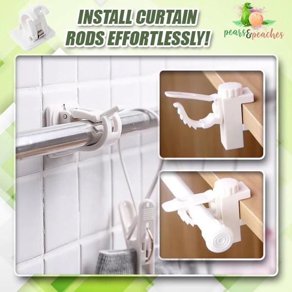 no drill curtain rod wall hooks