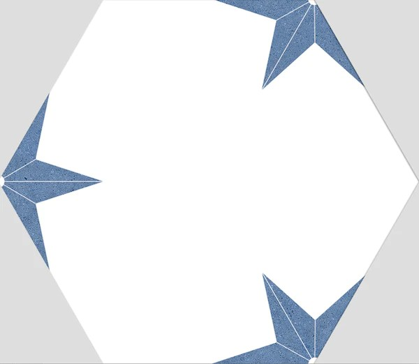 blue star hexagon wall and floor tiles 22x25cm