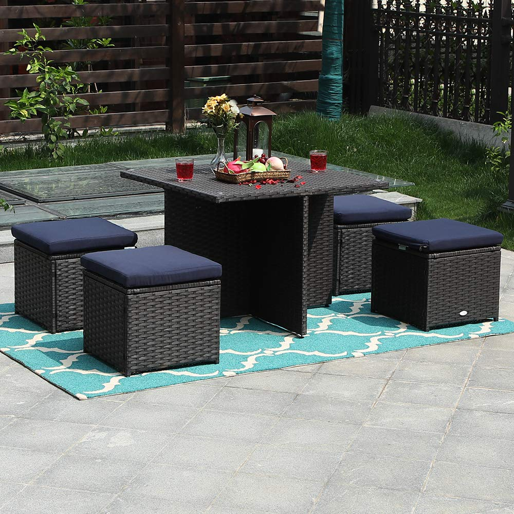 PHI VILLA Outdoor Furniture Rattan Sectional Sofa Set with Cushions 5 Piece