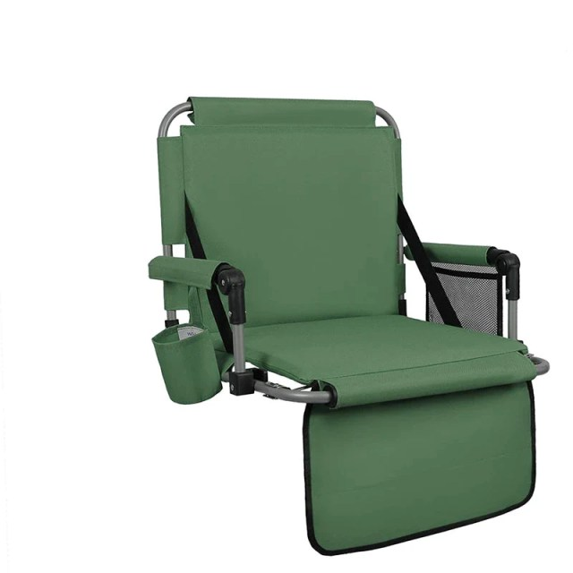 Alpha Camp Padded Stadium Seat Chair with Back? Arm Rest-Green