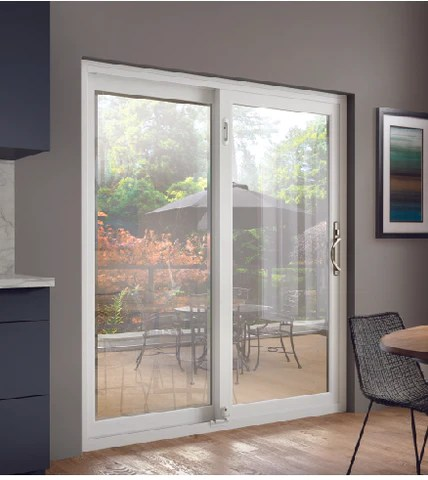 installed milgard white tuscany sliding patio door