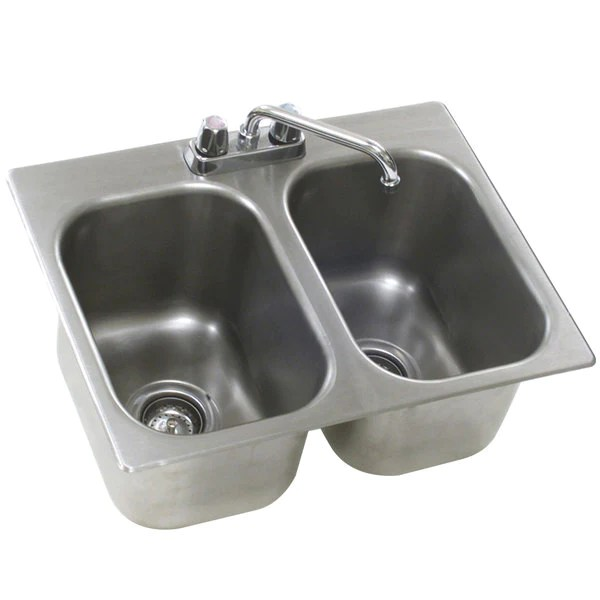 eagle group sr16 19 13 5 2 drop in sink two compartment stainless steel drop in sink with deck mount faucet and swing nozzle