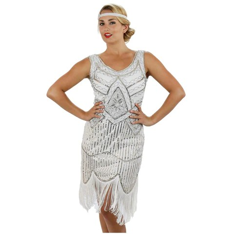 White Flapper Dresses | White 1920s Gatsby Dresses