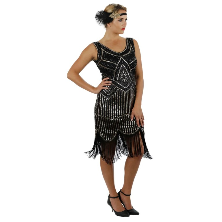 1920s Black Gold Beaded Sequin Stella Flapper Dress