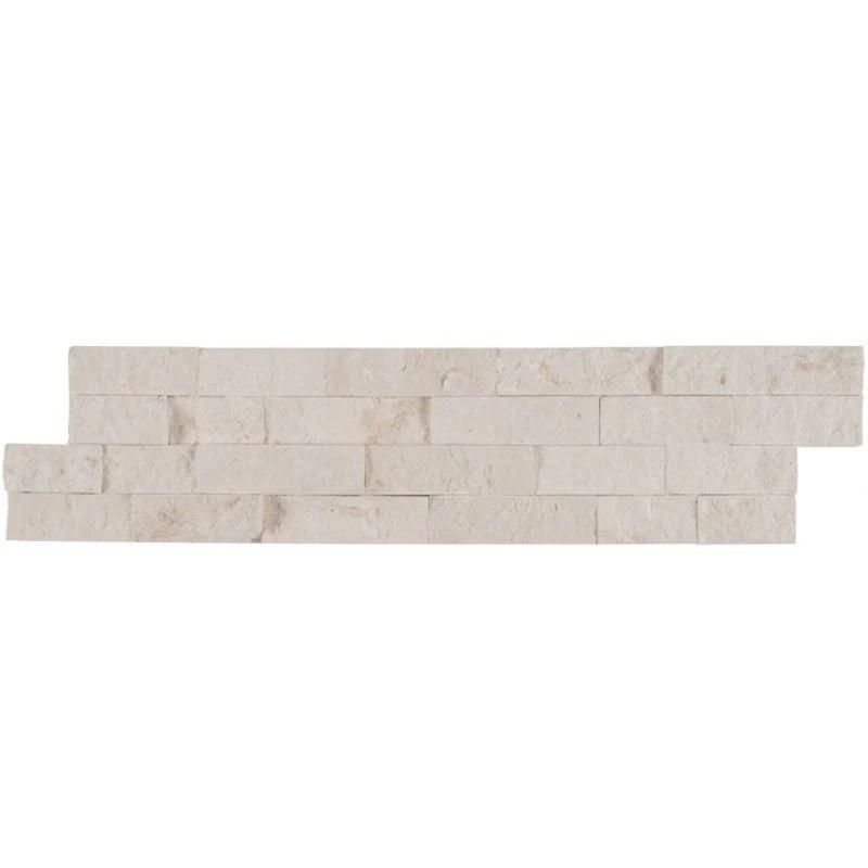 white pearl limestone 6x24 stacked stone ledger panel