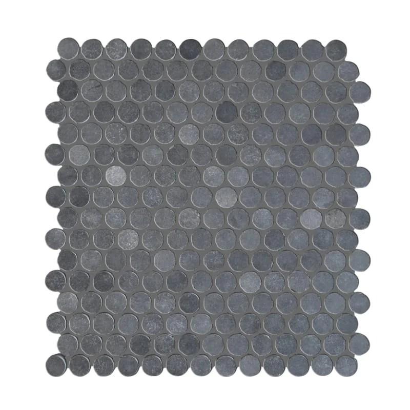 basalt gray penny round honed mosaic tile