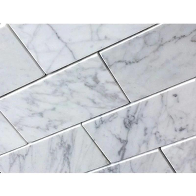 white carrara marble 6x12 polished tile
