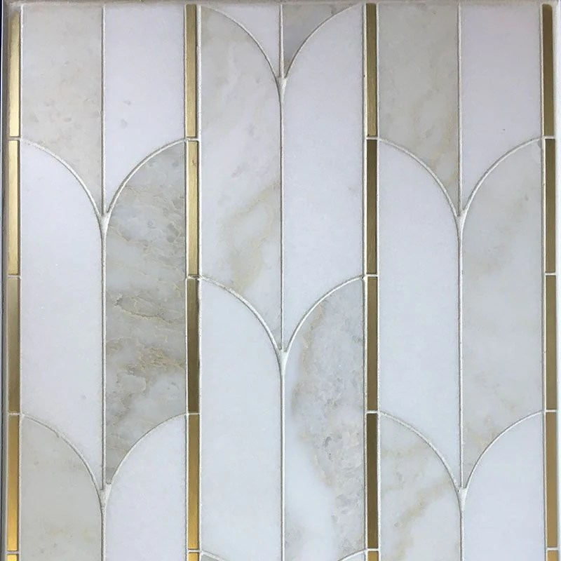thassos cloud nine marble brass polished mosaic tile