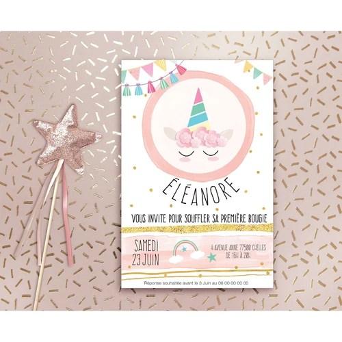 invitation anniversaire licorne pour fille