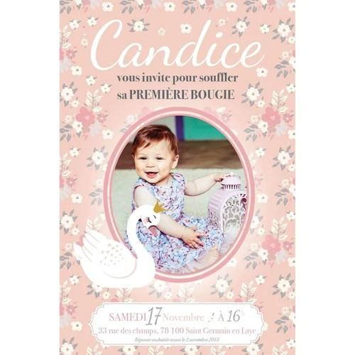 superbe invitation d anniversaire cygne pour fille avec un fond liberty pastel et aux airs vintage