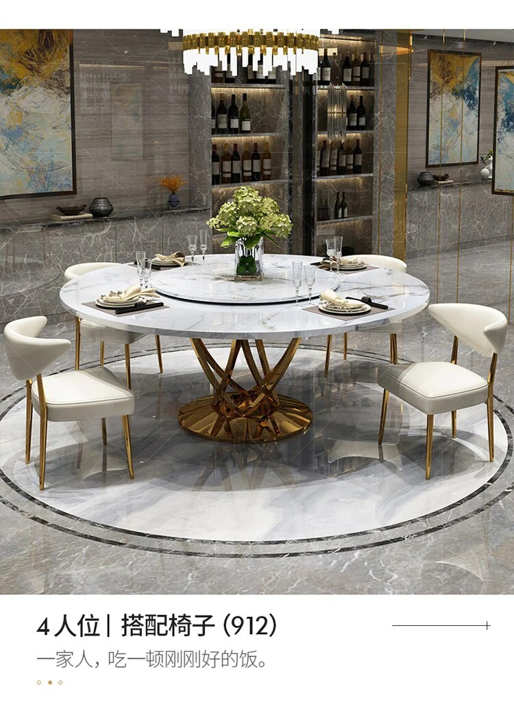 Marble Postmodern Light Luxury Round Dining Table With Turntable Home Jyards