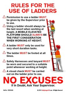 construction safety poster rules for the use of ladders