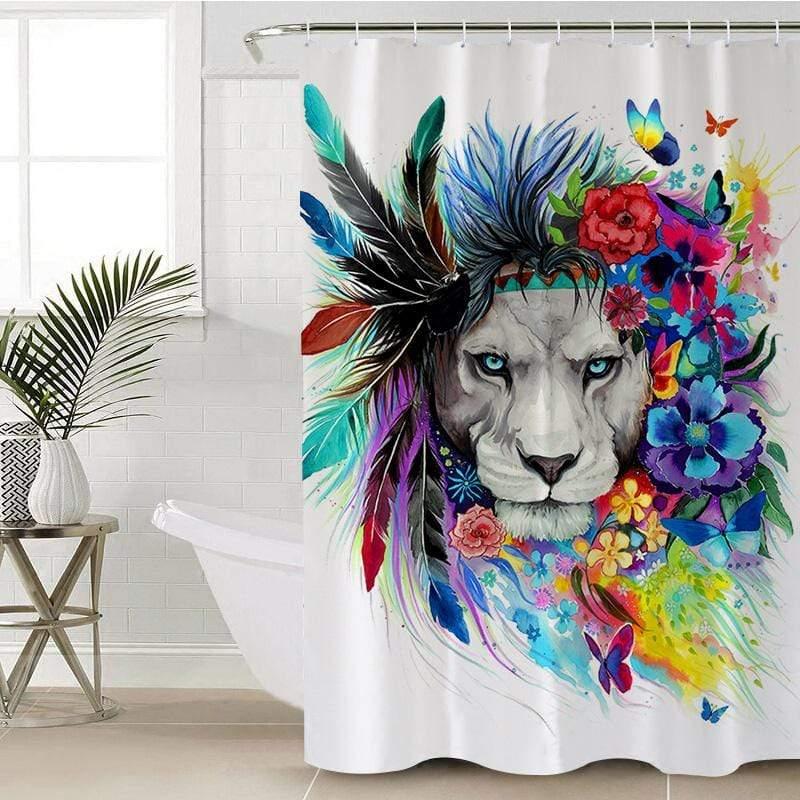 water colour lion shower curtain