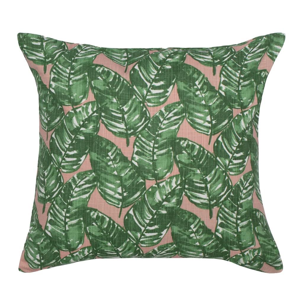 the tropics palm leaf square throw pillow