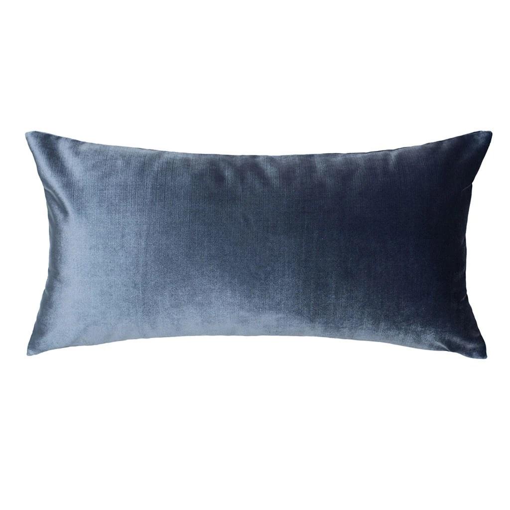 the dusk blue velvet throw pillow