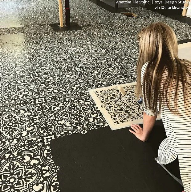 painted tile floor stencils for