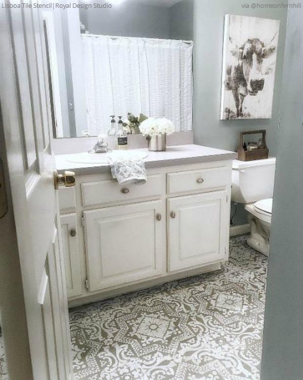 The Renovation Hack That Will Save You $1000s: Bathroom ... on Farmhouse Tile Bathroom Floor  id=76852