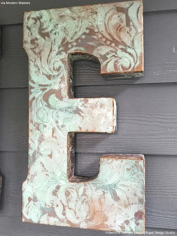 Outdoor Decor Tutorial Painted Patina Wall Letters