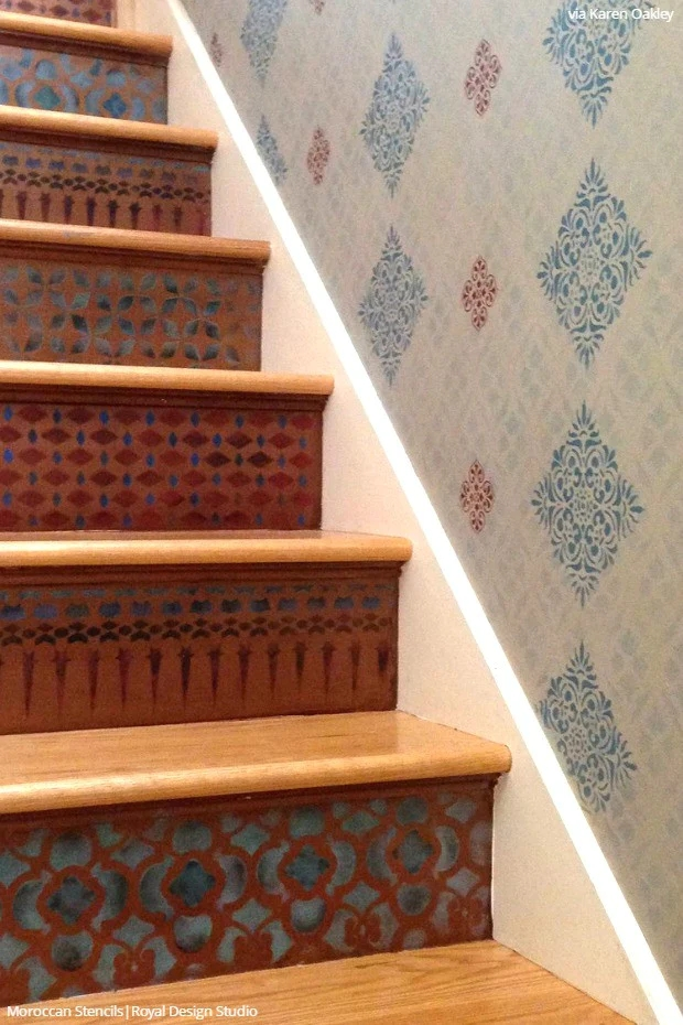 12 Stencil Ideas For Your Stairs Paint Stair Risers With Diy   Wall Painting Designs For Staircase   Simple   Decorative   Two Tone   Modern   Hall Nature
