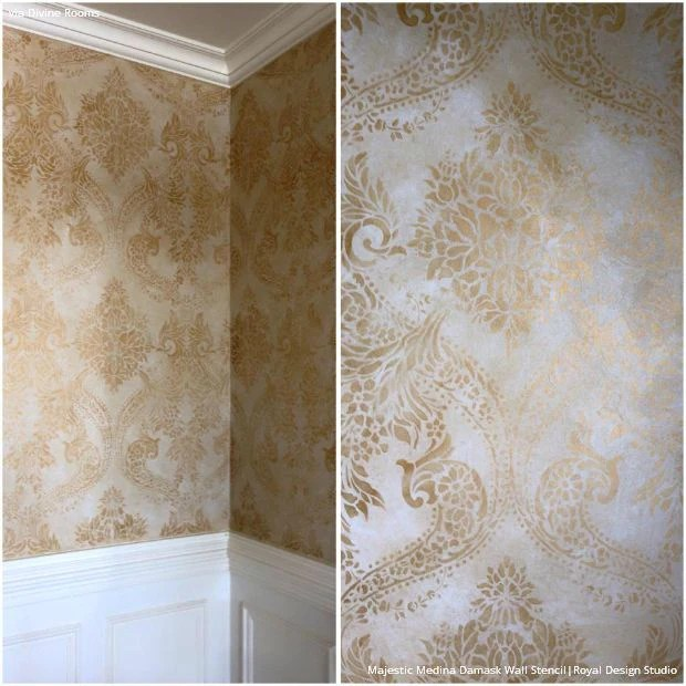 Gold Wallpaper Wall Stencils Diy Ideas For Metallic Home Decor Royal Design Studio Stencils