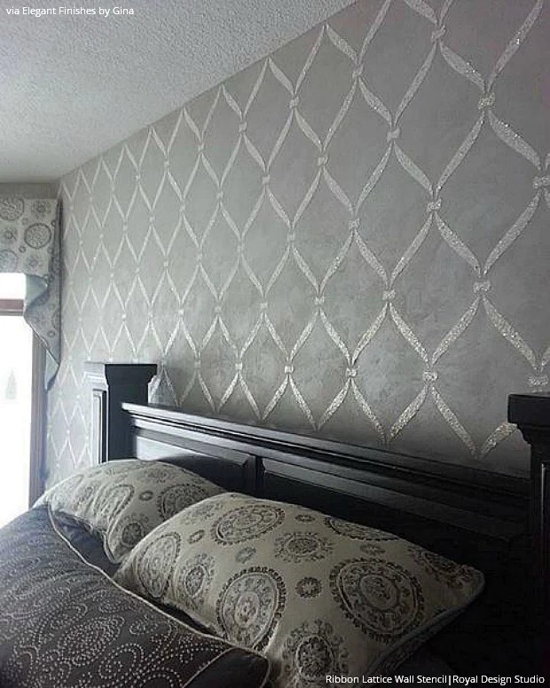 Wall Stencils Ideas For Dreamy Romantic Bedroom Decor