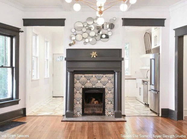 Hot Diy Decorating Idea Stencil Designs Fireplace Surrounds Mantles Royal Design Studio Stencils