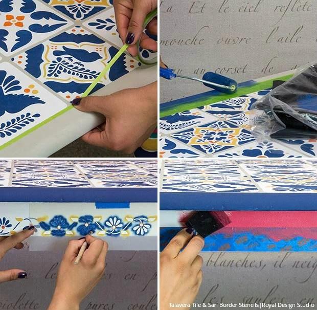 stencil a mexican talavera tile table