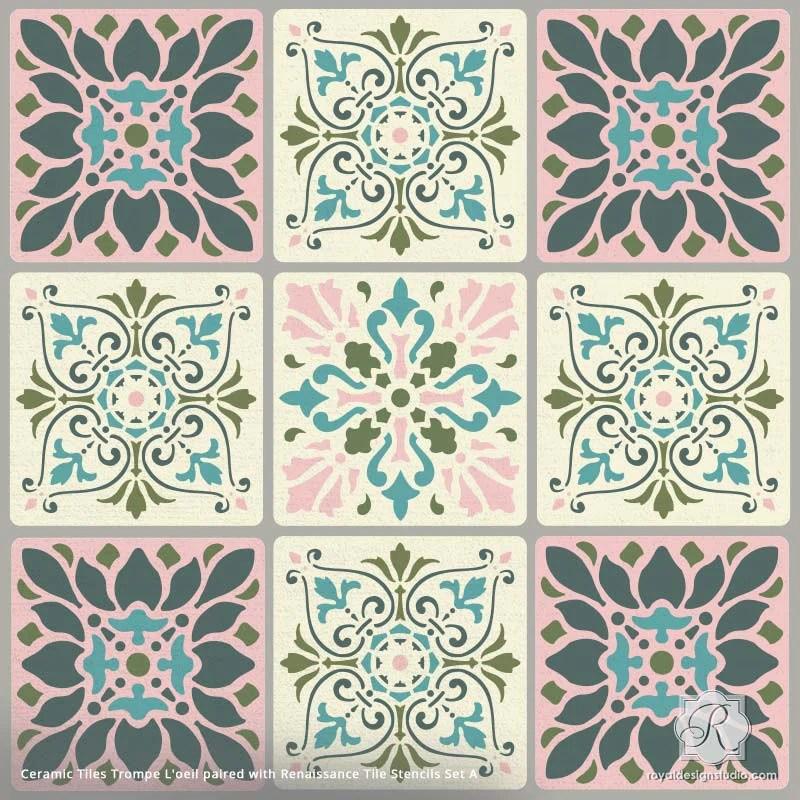 ceramic tiles trompe l oeil stencil