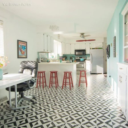 Geometric Moroccan Wall Stencils   DIY Floor Stencils   Royal Design         Black and White Retro Painted Kitchen Floor with DIY Stencils   All the  Angles Moroccan Floor