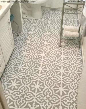 tile floor stencils large tile design
