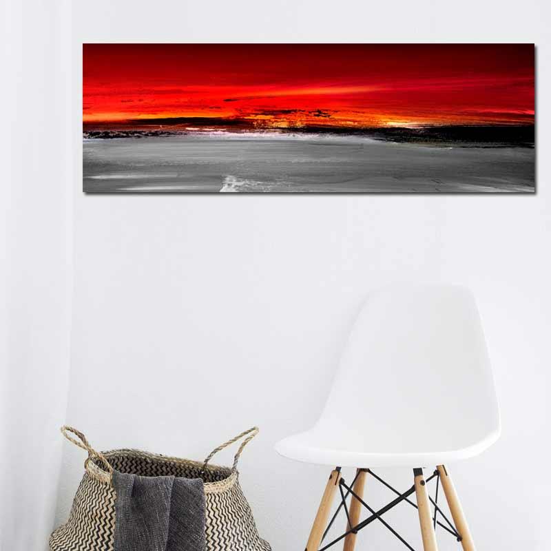 Tableau Abstrait Decoratif Rouge Noir Et Gris