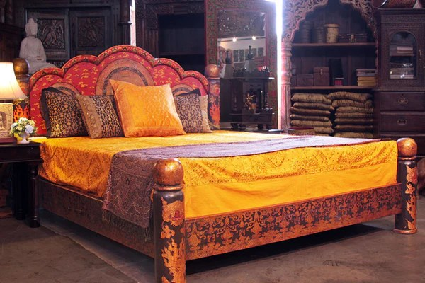 Indian Style Beds Mandala Low Pillar Arch Canopy