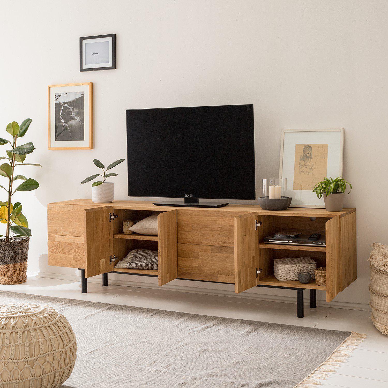 nordicstory meuble tv en chene massif wardi 220 x 40 x 65 cm