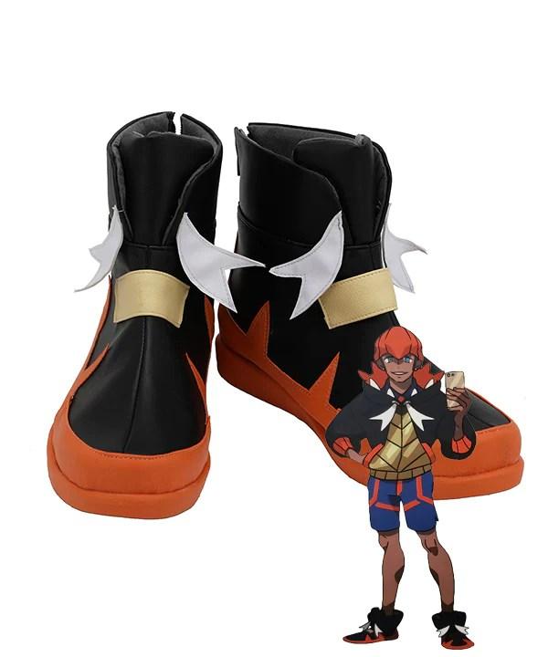 Pokemon Pok��/mon Sword And Shield Raihan Red Black White Cosplay Shoes