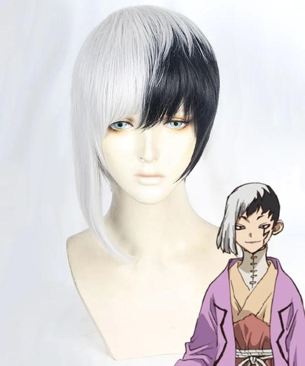Dr.Stone Gen Asagiri Black White Cosplay Wig