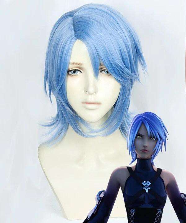 Kingdom Heart III Aqua Blue Cosplay Wig
