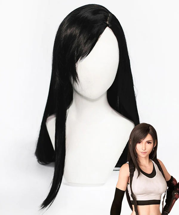 Final Fantasy VII Remake FF7 Tifa Lockhart Black Cosplay Wig