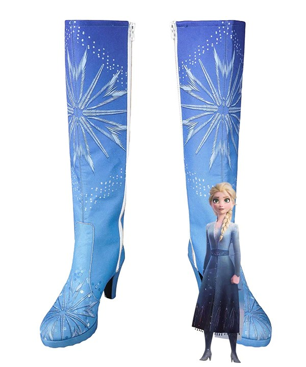 Disney Frozen 2 Elsa Blue Shoes Cosplay Boots