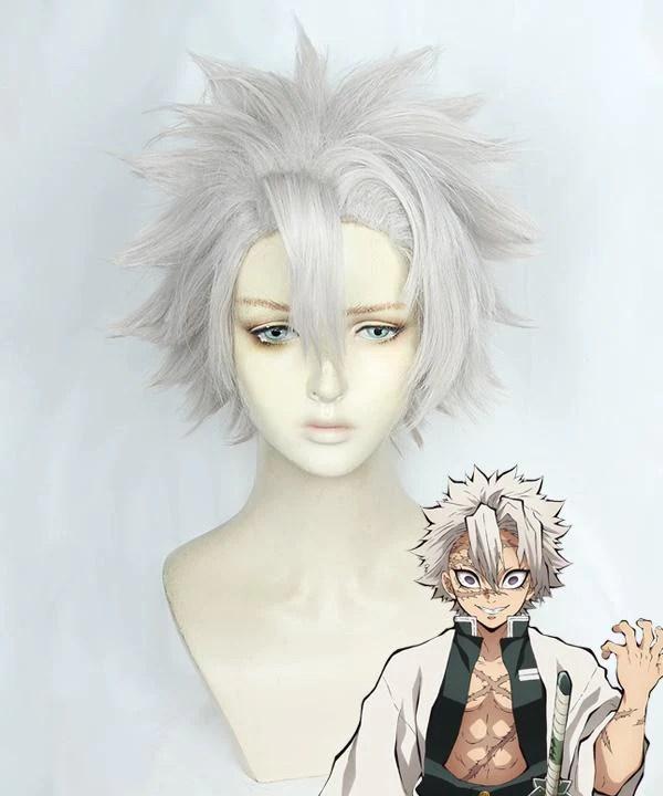 Demon Slayer: Kimetsu No Yaiba Sanemi Shinazugawa Silver Cosplay Wig