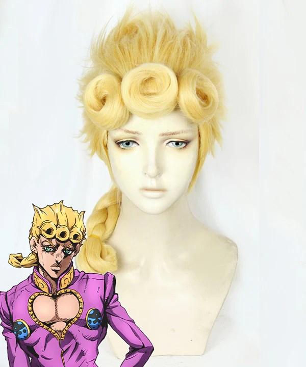 JoJo's Bizarre Adventure: Vento Aureo Golden Wind Giorno Giovanna Golden Cosplay Wig