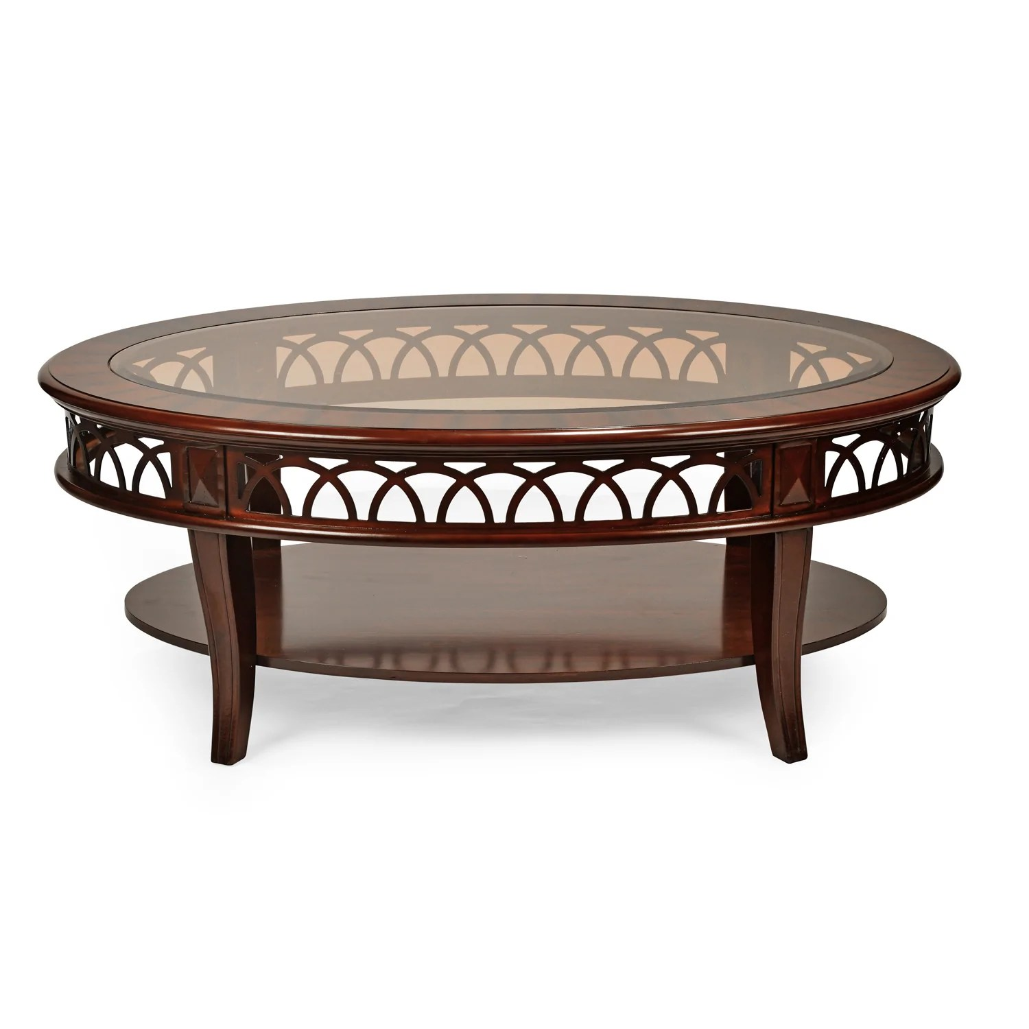 pisces center table with glass top classic walnut