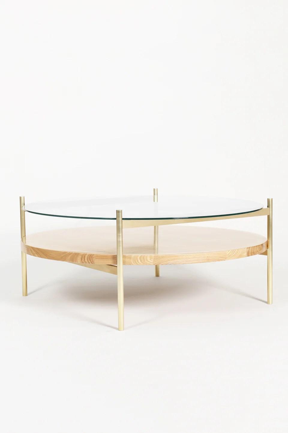 duotone circular coffee table brass frame clear glass ash wood