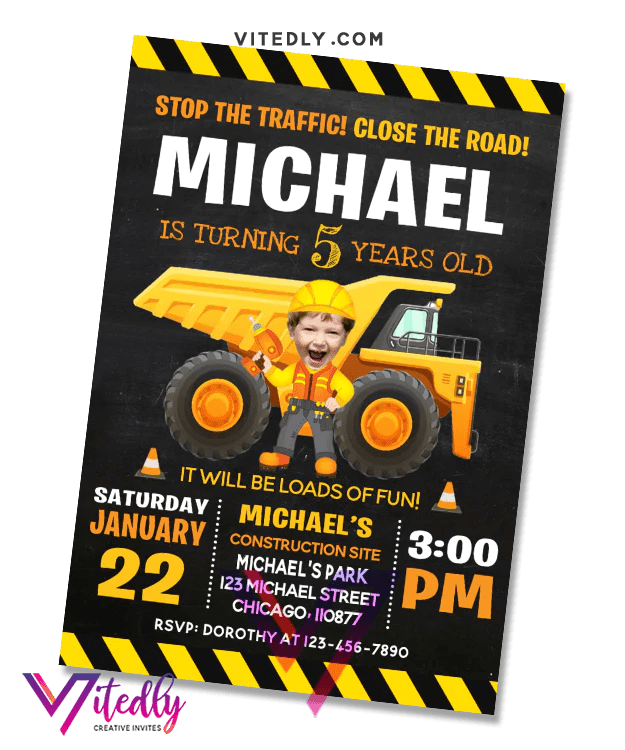 construction birthday invitation with custom face and free thank you card